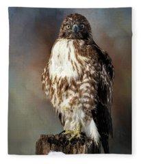 Stare Down With A Hawk Fleece Blanket