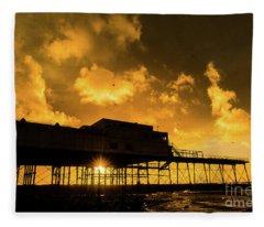 Starlings Ataberystwyth Pier At Sunset Fleece Blanket