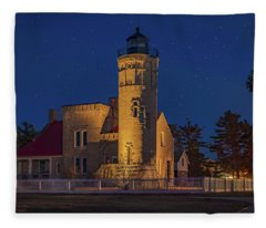 Starry Night At Old Mackinac Point Lighthouse  Fleece Blanket