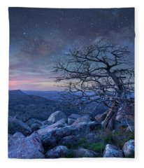 Stars Over Pine On Mount Scott, Wichita Fleece Blanket