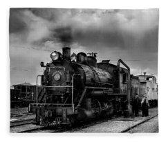 Steam Locomotive In Black And White 1 Fleece Blanket