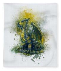 Steampunk Dragon Fleece Blanket