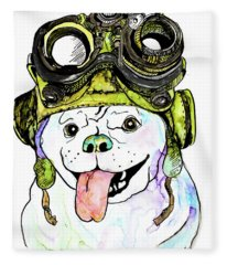 Steampunk Pug Fleece Blanket