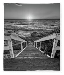 Steps To The Sun  Black And White Fleece Blanket