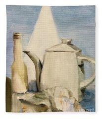 Still Life Of Pottery In White Fleece Blanket