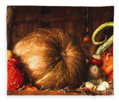 Still Life With Pumpkins Fleece Blanket