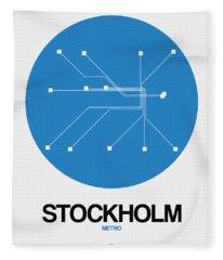 Stockholm Blue Subway Map Fleece Blanket