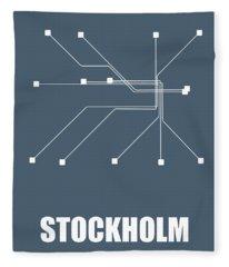 Stockholm Subway Map Fleece Blanket