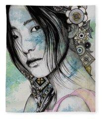Stoic - Asian Girl Street Art Portrait With Mandala Doodles Fleece Blanket