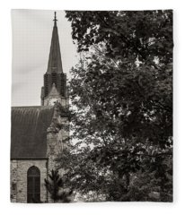 Fleece Blanket featuring the photograph Stone Chapel - Black And White by Allin Sorenson