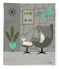 Stone Wall With Dog And Cat Fleece Blanket