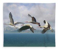 Storks Over The Straits Of Gibraltar Fleece Blanket