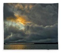 Storm Approaches At Sunset Fleece Blanket