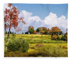 Fleece Blanket featuring the photograph Storm Clouds Over Country Landscape by Christina Rollo