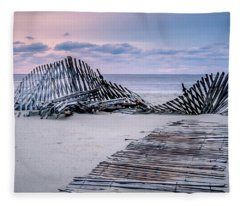 Fleece Blanket featuring the photograph Storm Fence Sunrise by Steve Stanger