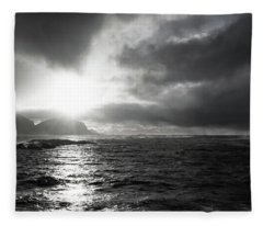stormy coastline in northern Norway Fleece Blanket