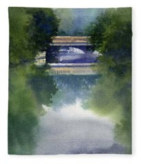 Stormy Day On Bridge Road Fleece Blanket