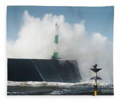 Stormy Sea And A Cormorant Fleece Blanket
