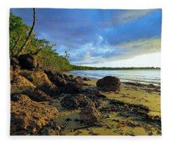 Stormy Sky Rocky Beach Fleece Blanket