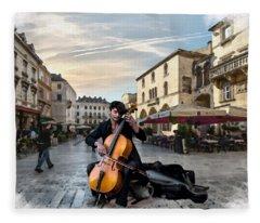 Street Music. Cello. Fleece Blanket