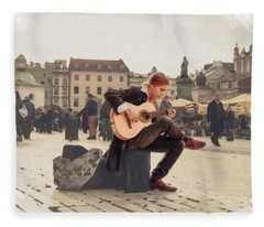 Street Music. Guitar. Fleece Blanket