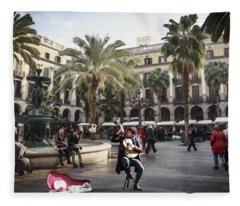Street Music. Guitar. Barcelona, Plaza Real. Fleece Blanket