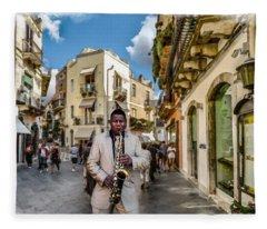 Street Music. Saxophone. Fleece Blanket