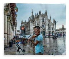 Street Music. Violin. Fleece Blanket