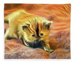Striped Forehead Kitten Fleece Blanket