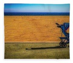 Stroller At The Beach Fleece Blanket