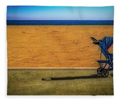 Stroller At The Beach Fleece Blanket