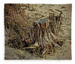 Stump At The Beach Fleece Blanket