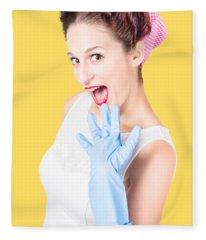 Stunned Cleaning House Wife Wearing Rubber Glove Fleece Blanket