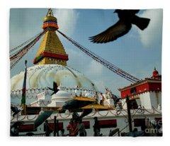 Stupa Bodhnath Kathmandu, Nepal - October 12, 2018 Fleece Blanket