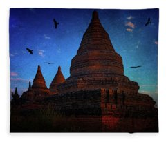 Stupas At Nightfall Fleece Blanket