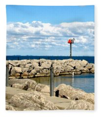 Sturgeon Point Marina On Lake Erie Fleece Blanket