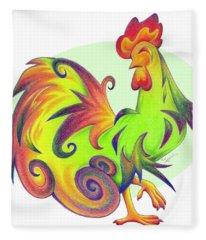 Stylized Rooster I Fleece Blanket