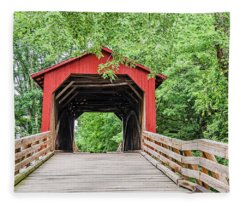 Sugar Creek Covered Bridge Fleece Blanket