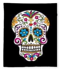Sugar Skull Day Of The Dead Fleece Blanket