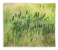 Summer Cattails In Field Of Grass - Fleece Blanket