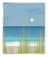 Summer Day At The Beach - Square Fleece Blanket