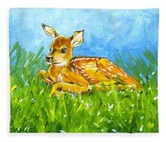 Summer Fawn Sketch Fleece Blanket