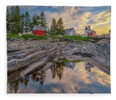 Summer Morning At Pemaquid Point Lighthouse Fleece Blanket