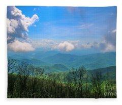 Summer Mountain View Fleece Blanket