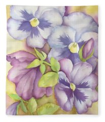 Summer Pansies Fleece Blanket
