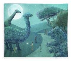 Summer Park - Night Fleece Blanket