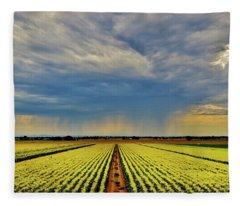 Summer Storm In The Corn Fields Fleece Blanket