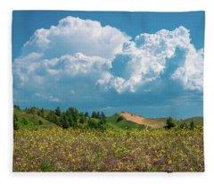 Summer Storm Over The Dunes Fleece Blanket