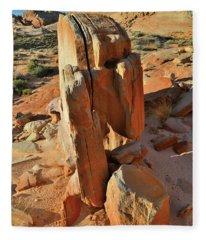 Sun Lights Rock Pillar In Valley Of Fire Fleece Blanket