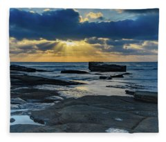 Sun Rays Burst Through The Clouds - Seascape Fleece Blanket